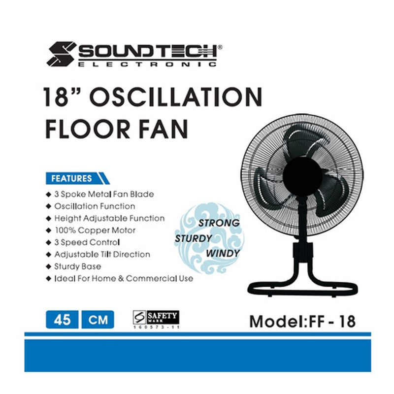 "Featured Product Photo for Soundteoh 18"" Oscillation Fan"