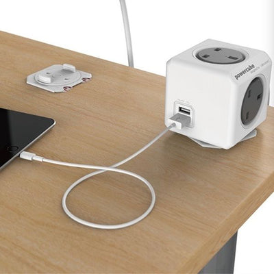 Allocacoc Powercube Ext. 3.0M 4 Outlets+2 USB