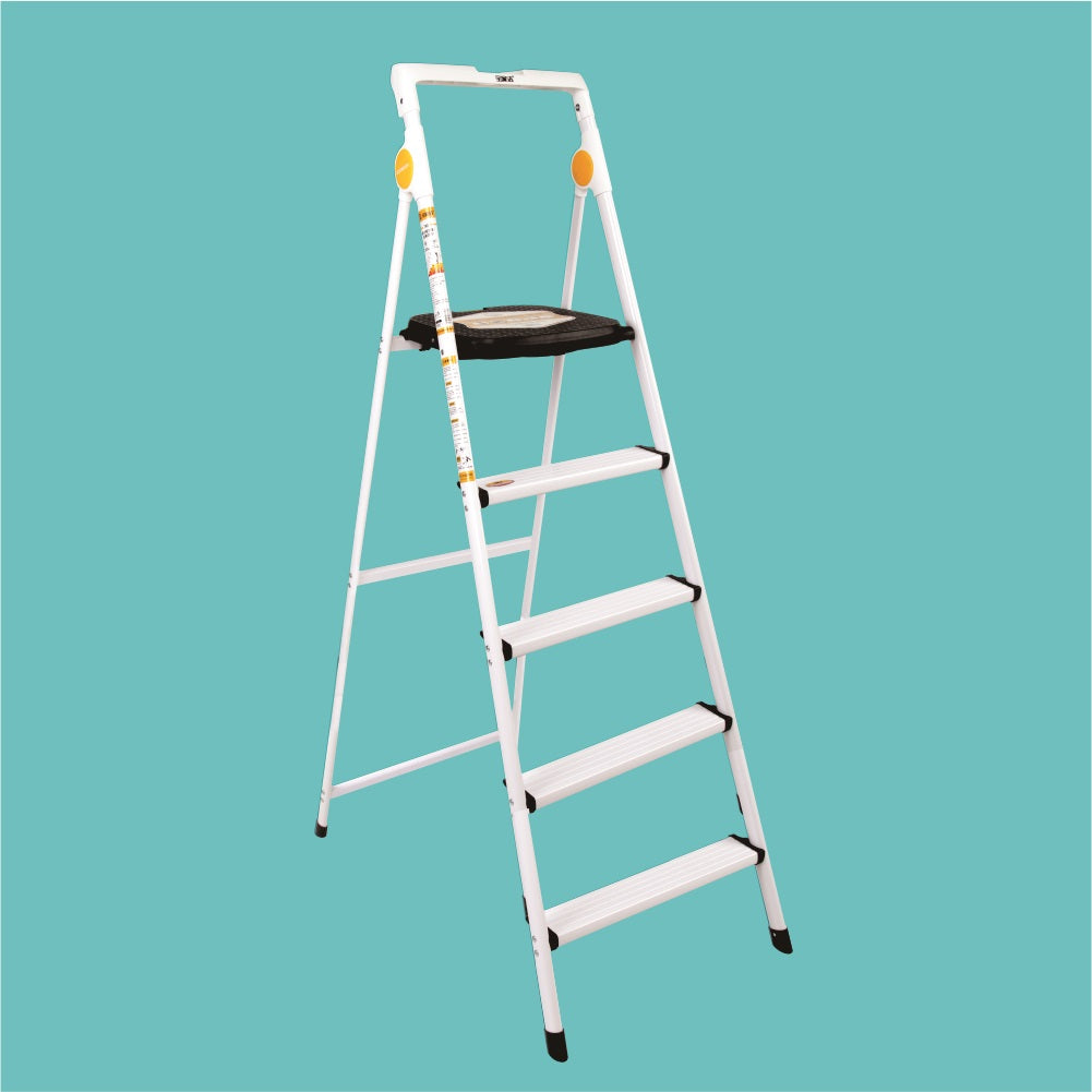 Boomjoy 5 Step Ladder Aluminium White
