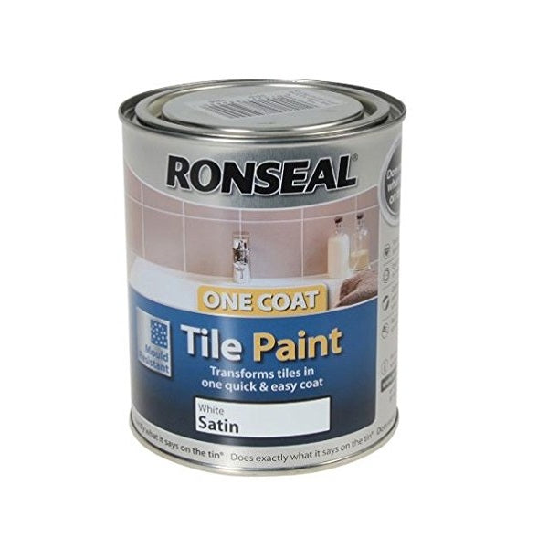 Ronseal One Coat Tile Paint Satin White 750ml