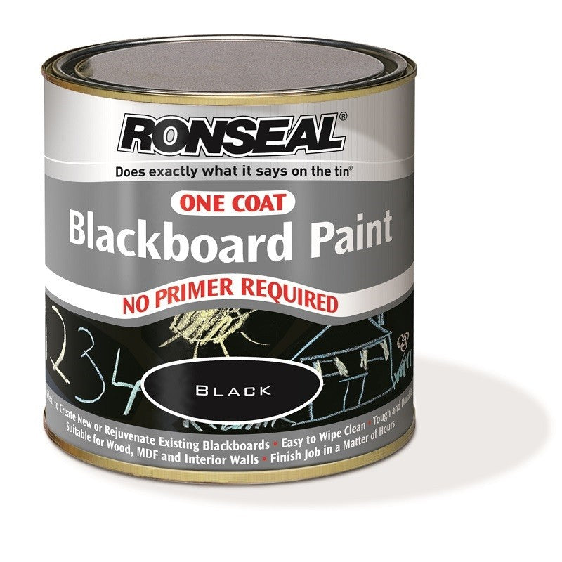 Ronseal One Coat Blackboard Paint Black 250ml