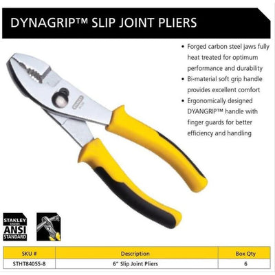 Stanley Dynagrip Slip Joint Pliers 6""