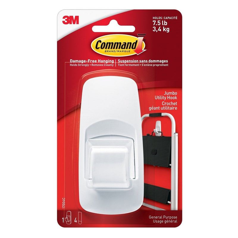 3M Command White Jumbo Hook 1 Hook 4 Strips