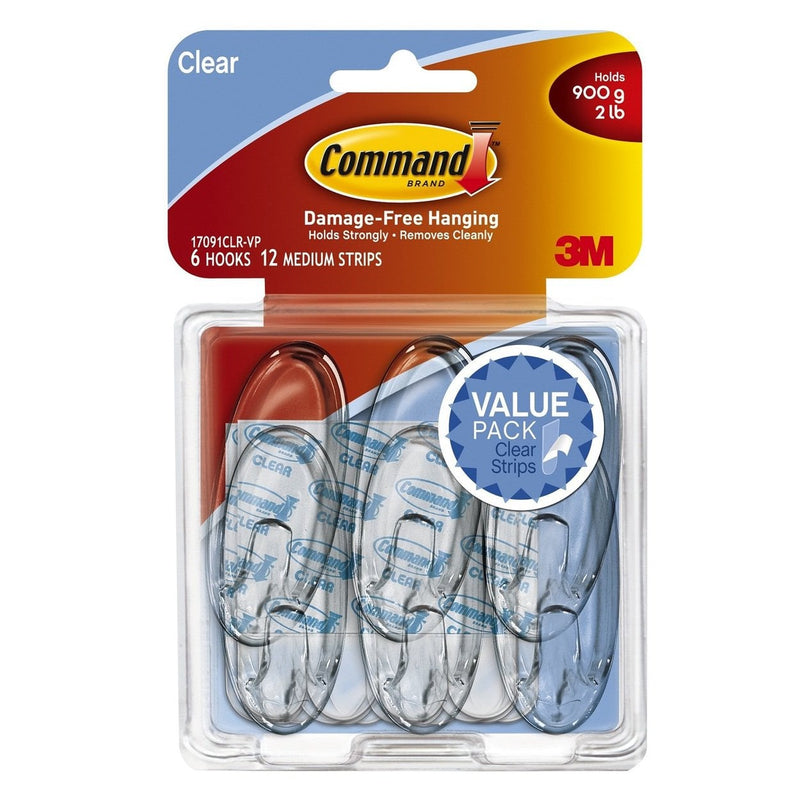3M Command Clear Medium Hooks Value Pack
