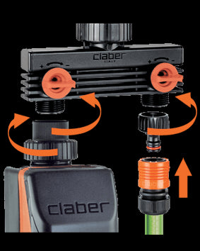 Claber 8589 Male Threaded 2Way Adapter 3/4""