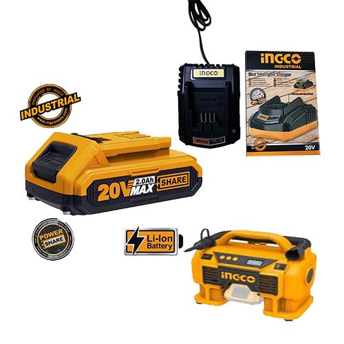 Ingco Li-Ion Cordless Air Compressor KIT (with Battery + Charger)