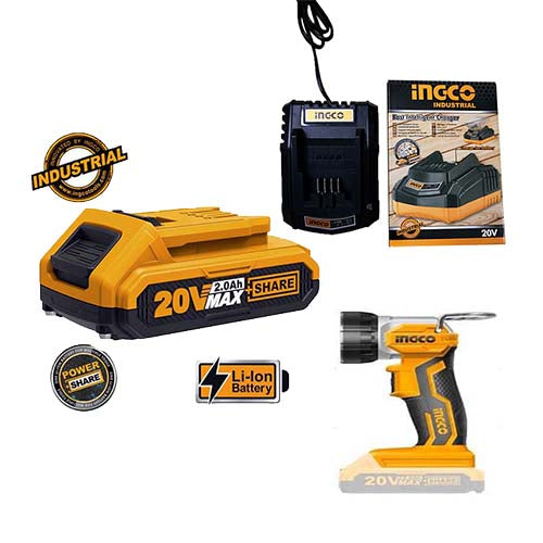 Ingco Li-Ion Cordless Work Lamp 20v KIT (with Battery + Charger)