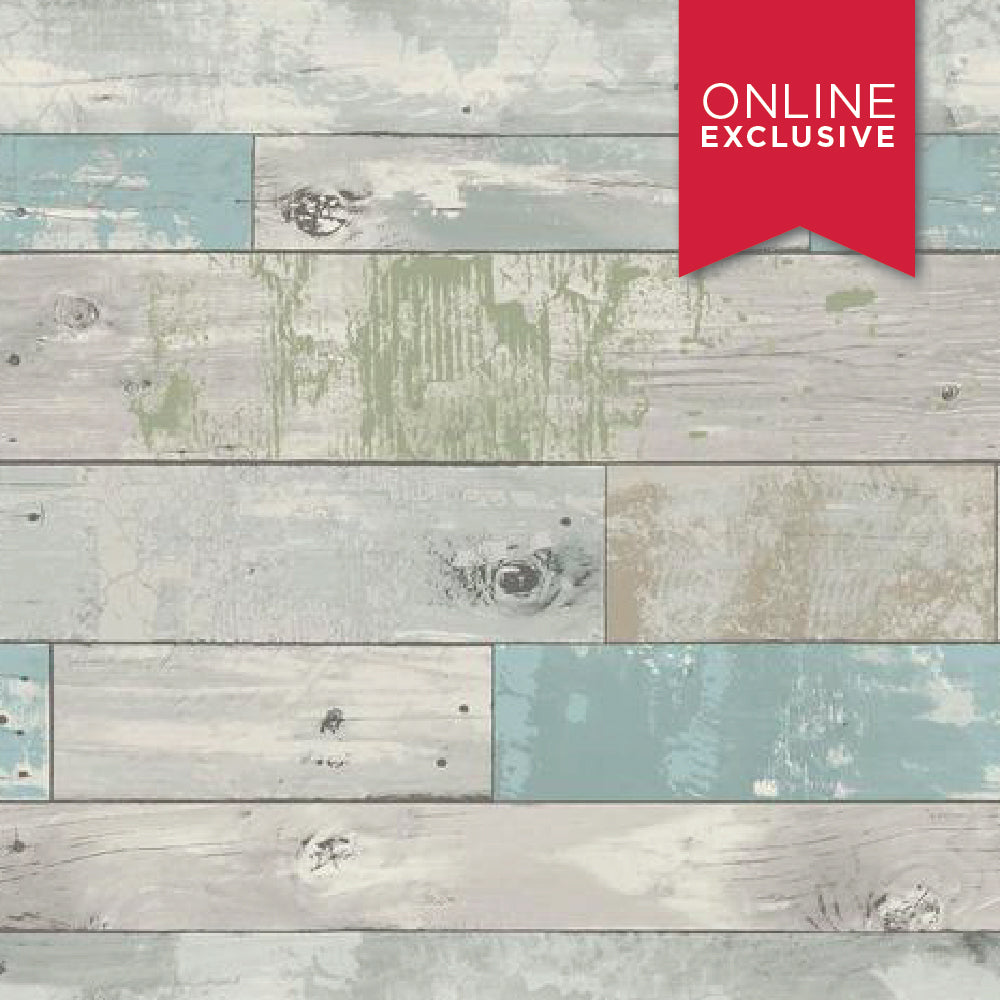 Wall Pops NU1647 NuWallpaper Beachwood Blue/Green