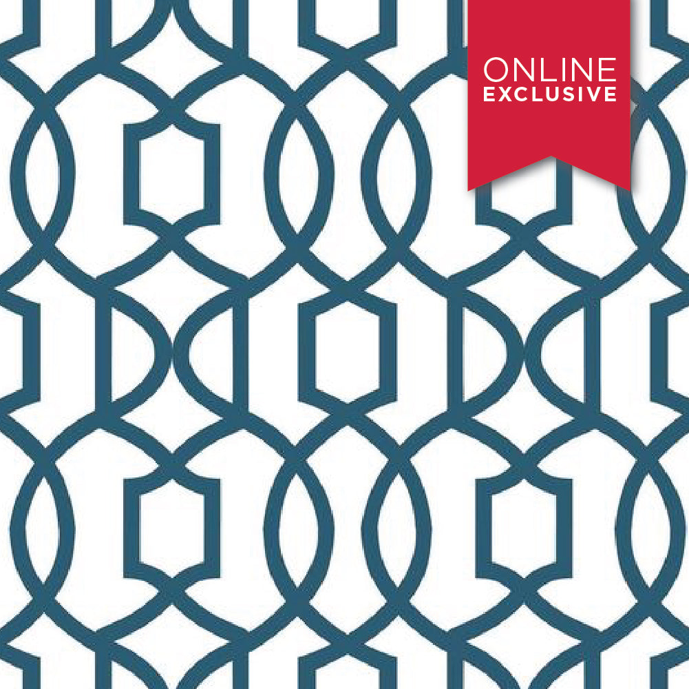 Wall Pops NU1648 NuWallpaper Grand Trellis Navy