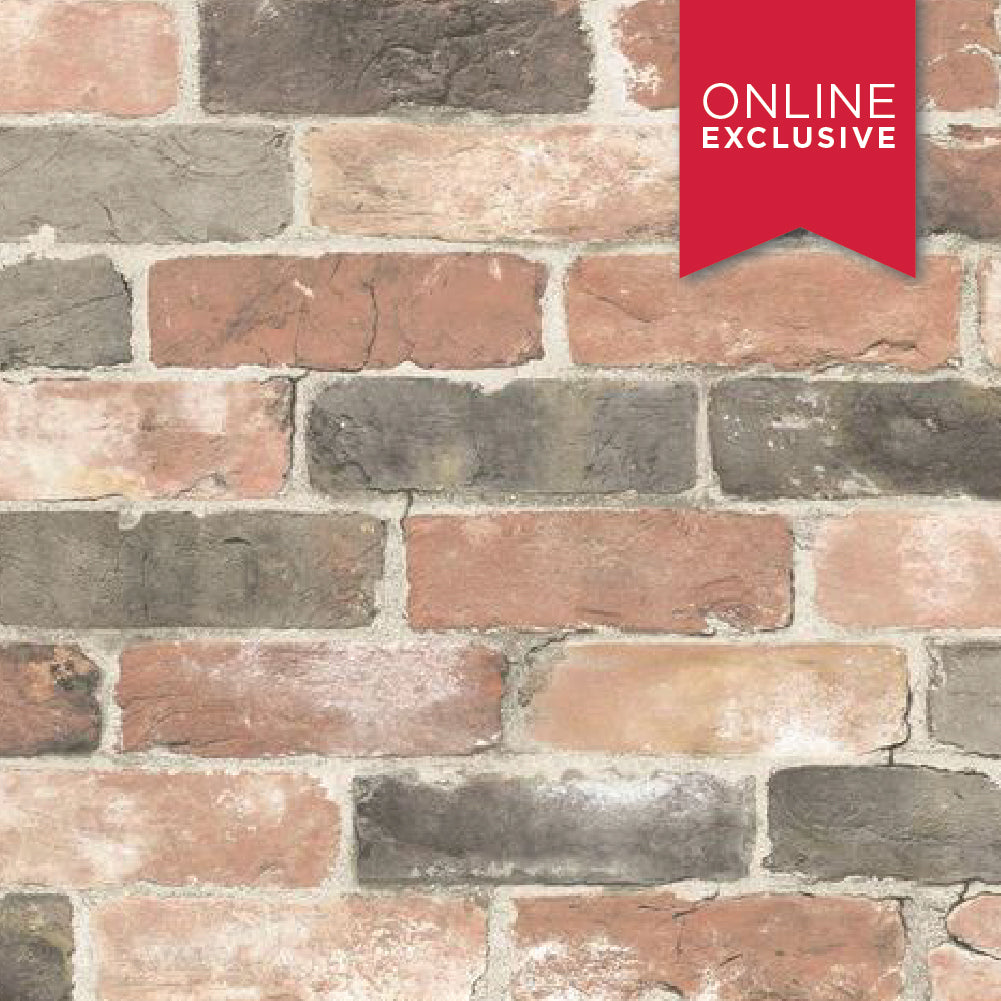 Wall Pops Nu2064 NuWallpaper Newport Reclaimed Brick Red