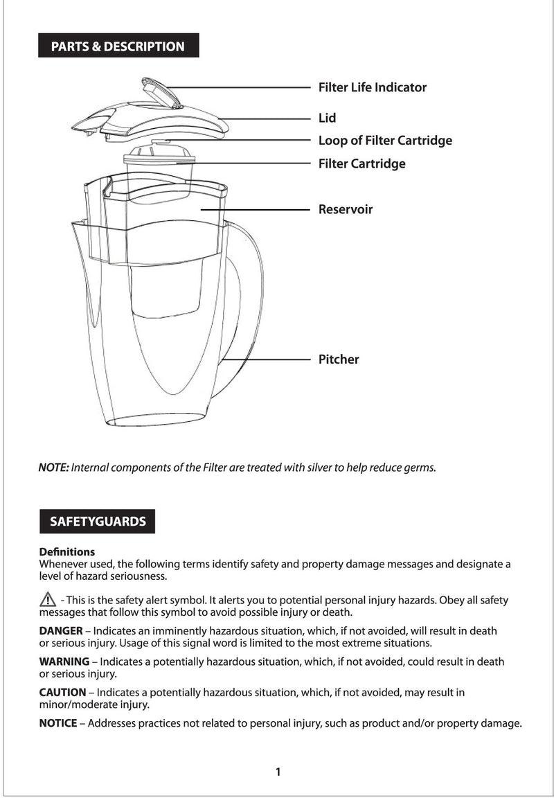 PowerPac Water Filter Pitcher BPA Free (PP1518)