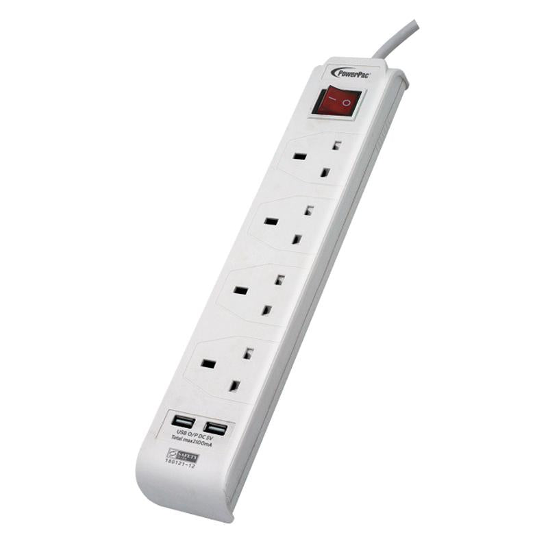 PowerPac 4 Way Safety Extension Socket with 2X USB Charger. (PP234U)