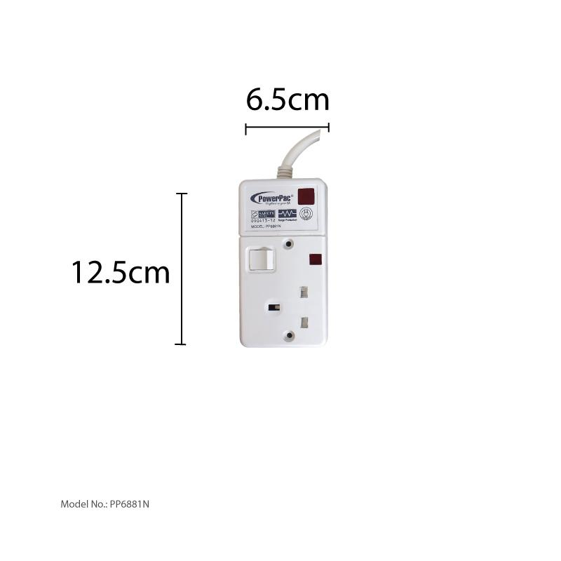 PowerPac Safety Extension Socket 6 Meter with 2-Pin Direct (PP6881N)