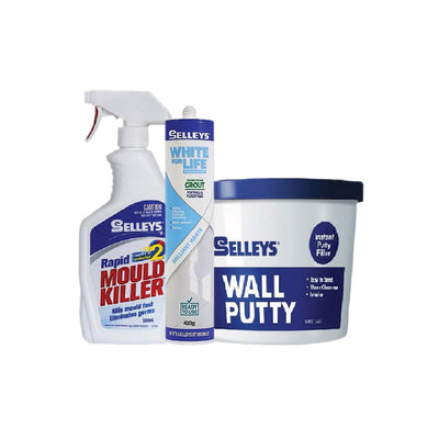 Photo of Bundle Set - Selleys White For Life Tile™ Grout, Rapid Mould Killer, Wall Putty