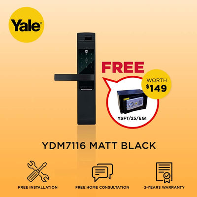 Yale 6-in-1 YDM7116 Digital Door Lock Matt Black