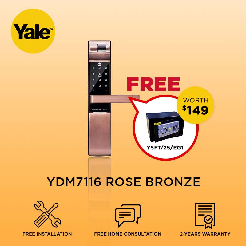 Yale 6-in-1 YDM7116 Digital Door Lock Rose Bronze