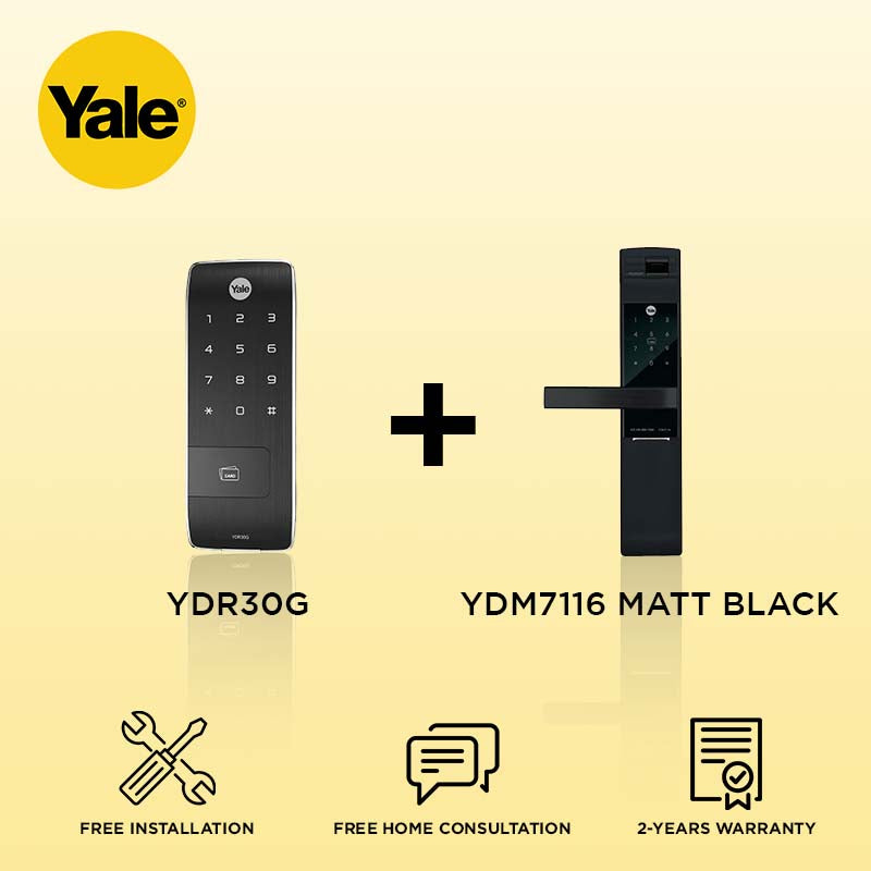 Yale YDR30G + YDM7116 Digital Door Lock Matt Black