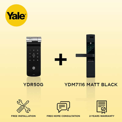 Yale YDR50G + YDM7116 Digital Door Lock Matt Black