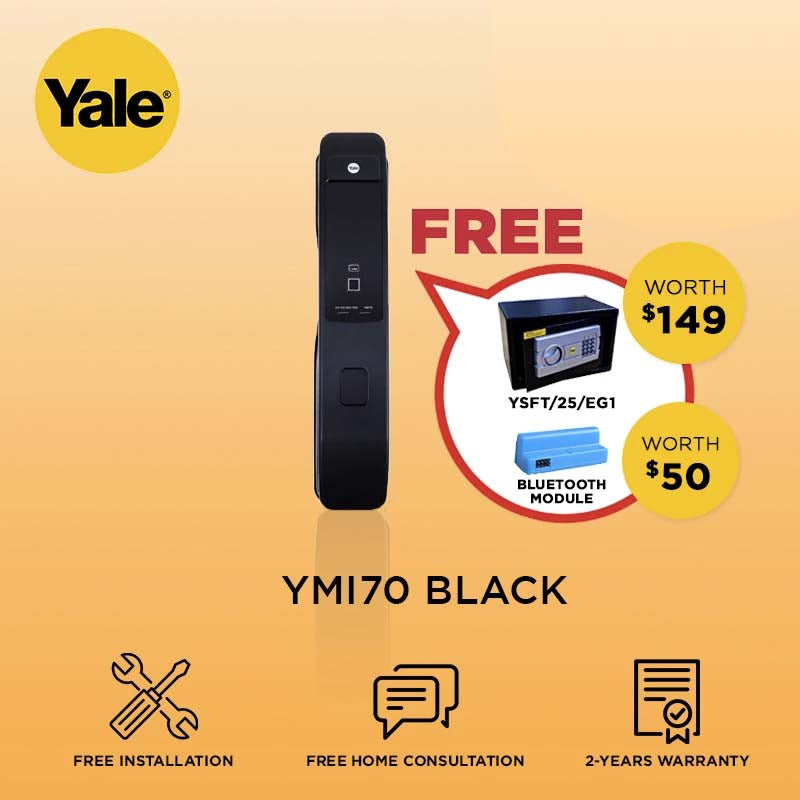 Yale Push Pull YMI70 Digital Door Lock Black