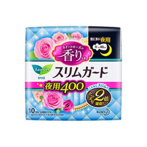 Kao Laurier Ultra Slim Sanitary Napkin Rose Scent For Night Use With Wing Sanitary Napkin 40Cm 10Pcs