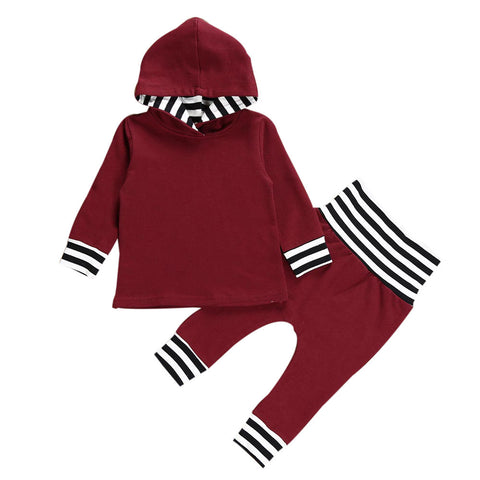 2 PC Striped Hooded Top + Pants Outfit