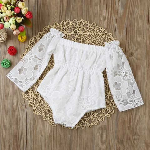 White Lace Off Shoulder Romper
