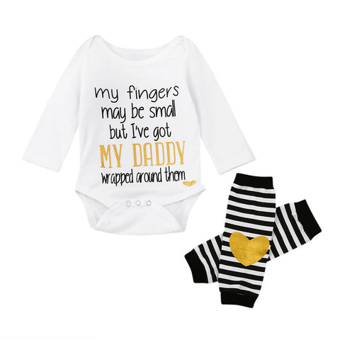 Dad's Wrapped Romper + Striped Leg Warmer 2 PC Set