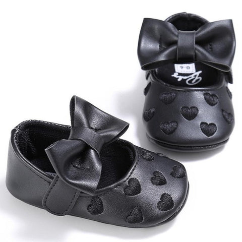 Handmade Black Leather Bowknot Heart Shoes