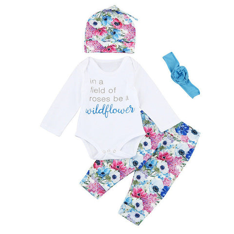 4 PC Floral Wildflower Outfit
