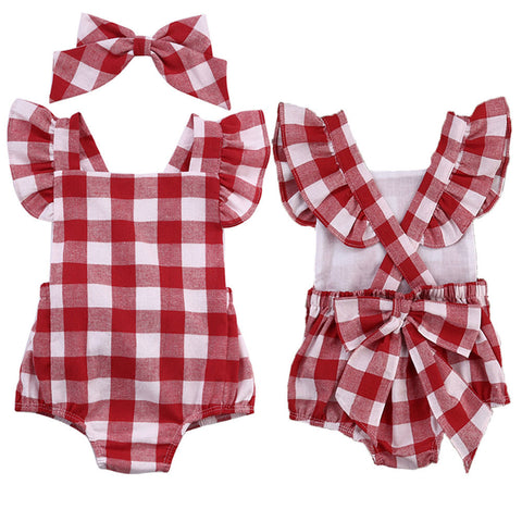 Plaid Picnic 2 PC Romper+Headpiece Set