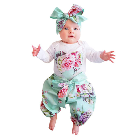 3 PC Floral Bodysuit + Pants + Bow Headband Set