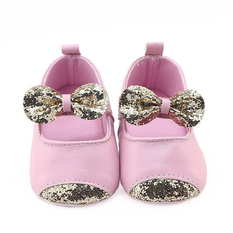 Sparkling Leather Bow Princess Shoes