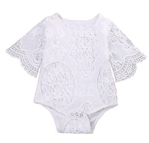 Short White Lace Batwing Sleeve Romper