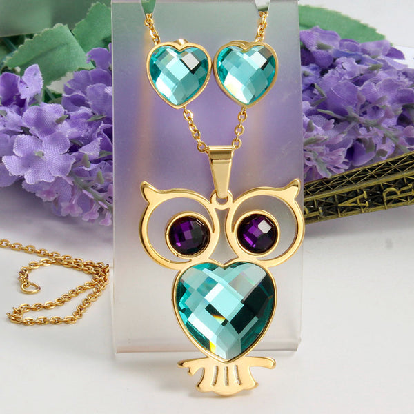 Fabulous Owl Necklace and Earrings