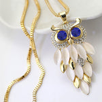Owl Pendant Rhinestone & Chain Necklace