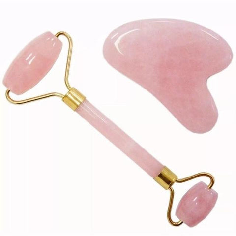 Rose quartz Gua sha Face Roller Set