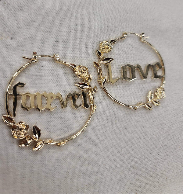 Gold Forever Love Rose Hoops