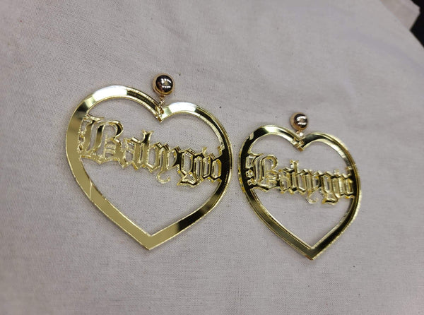 Gold Baby girl Heart Earrings