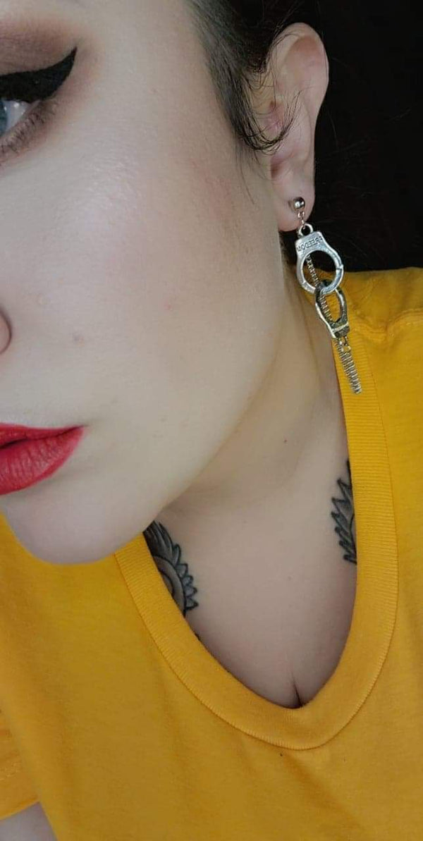 Sliver (Freedom)Handcuffs Earrings