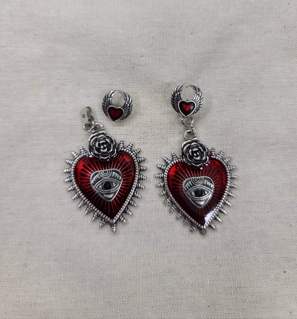 Sliver All Seeing Eye Red Heart Earrings