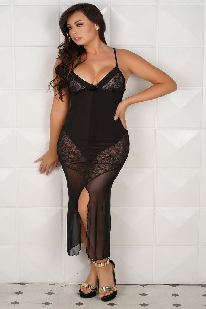 7326 Long Chemise with Sexy Slit opening