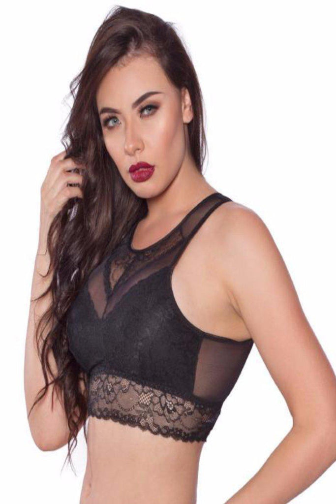 LL101 Black Lace Bralette Open Back