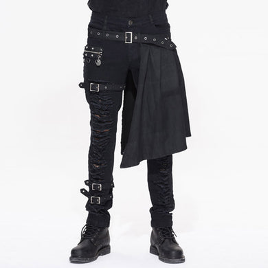 Side Kilt Ripped Buckle Pants - One Stop Steampunk