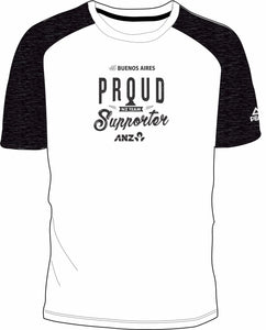 Mens White/Char Marle Proud Supporter Design