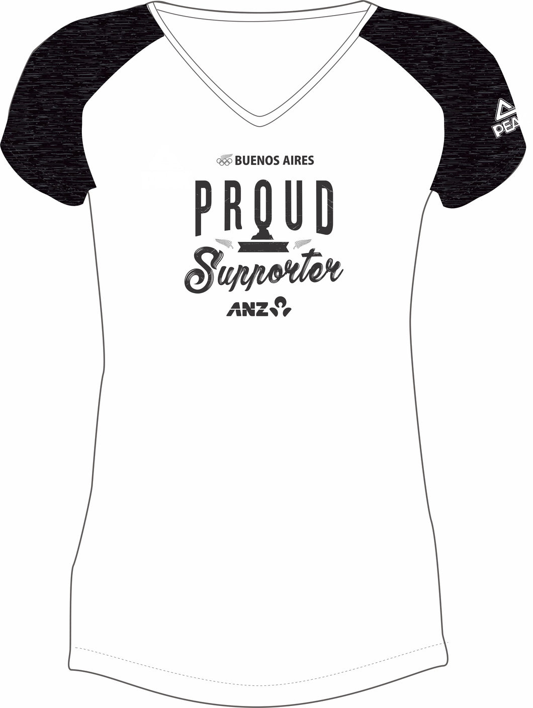 Womens White/Char Marle Proud Supporter Design