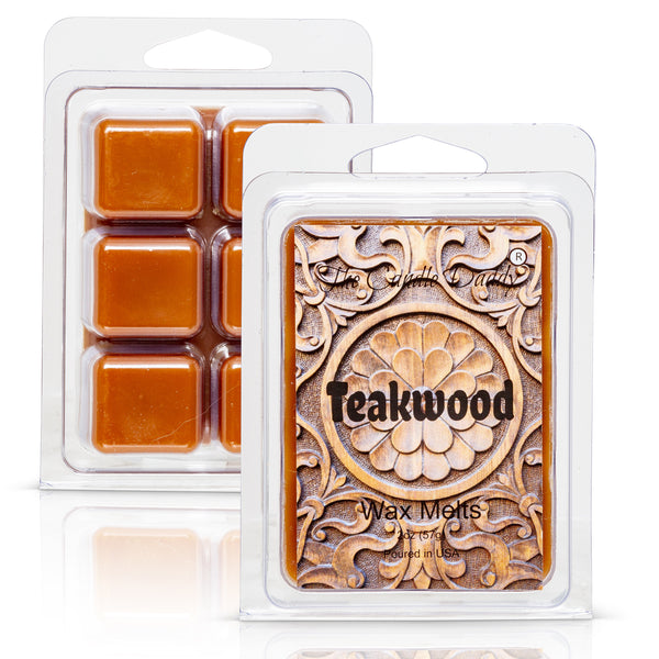 Teakwood - Rustic, Earthy, Sweet Scented Melt- Maximum Scent Wax Cubes/Melts- 1 Pack -2 Ounces- 6 Cubes
