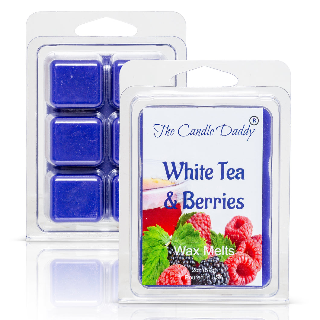 White Tea and Berries - Herbal Tea and Sweet Berry Scented Melt- Maximum Scent Wax Cubes/Melts- 1 Pack -2 Ounces- 6 Cubes