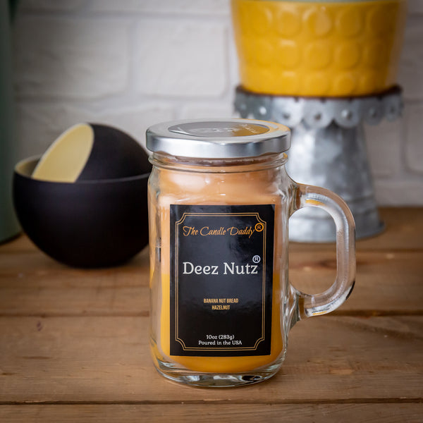 Deez Nutz - Double Pour - Banana Nut Bread & Hazelnut Vanilla Scent - Scented 10 Ounce Mason Jar Candle With Lid - Poured In The USA