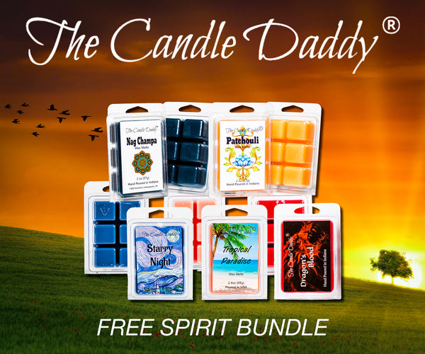 """Free Spirit Bundle""  Combo Set Of Five Scented Wax Melt Cubes - Nag Champa, Patchouli, Starry Night, Tropical Paradise, Dragon's Blood"