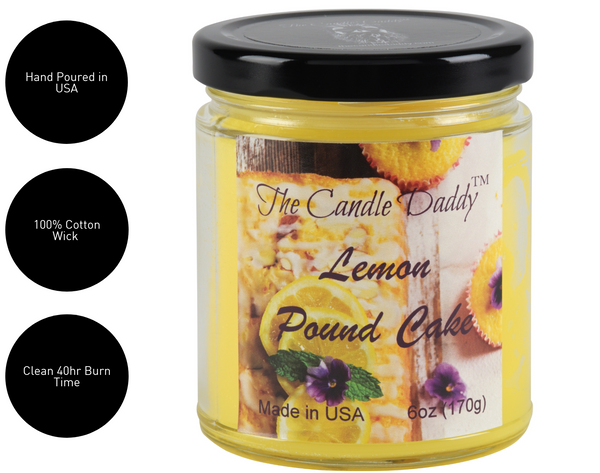 Lemon Pound Cake - Sweet Lemon Scented 6oz Jar Candle - The Candle Daddy - Hand Poured In Indiana
